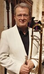 Jim Pullen, bass and trombone in view